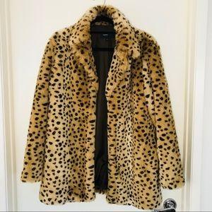 MANGO leopard faux fur coat - Medium